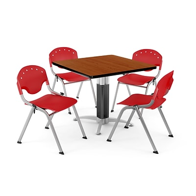 OFM PKG-BRK-022-0002 36 Square Laminate Multi-Purpose Table with 4 Chairs, Cherry Table/Red Chair