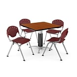 OFM PRKBRK-024-0003 42 Square Laminate Multipurpose Table w 4 Chairs, Cherry Table/Burgundy Chair