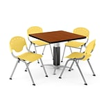 OFM PRKBRK-024-0004 42 Square Laminate Multipurpose Table w 4 Chairs, Cherry Table/Lemon YLW Chair
