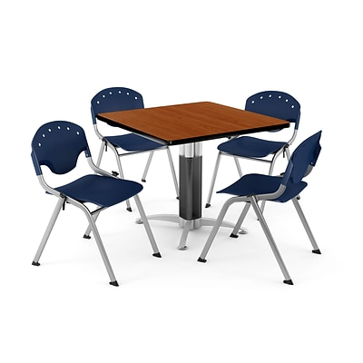 OFM PKG-BRK-024-0005 42 Square Laminate Multi-Purpose Table with 4 Chairs, Cherry Table/Navy Chair