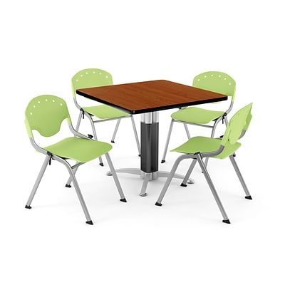 OFM PRKBRK-024-0006 42 Square Laminate Multipurpose Table w 4 Chairs, Cherry Table/Lime Green Chair
