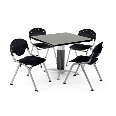 OFM PRKBRK-022-0007 36 Square Laminate Multipurpose Table w 4 Chairs, Gray Nebula Table/Black Chair