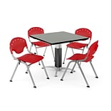 OFM PRKBRK-022-0008 36 Square Laminate Multipurpose Table w 4 Chairs, Gray Nebula Table/Red Chair