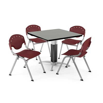 OFM PRKBRK-024-0009 42 Square Laminate Multipurpose Gray Nebula Table With 4 Burgundy Chairs