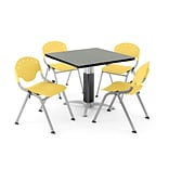 OFM PRKBRK-022-0010 36 Square Laminate Multipurpose Gray Nebula Table With 4 Lemon Yellow Chairs