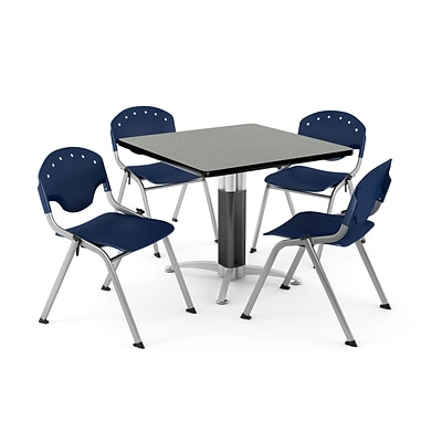 OFM PKG-BRK-024-0011 42 Square Laminate Multi-Purpose Table with 4 Chairs, Gray Nebula/Navy Chair