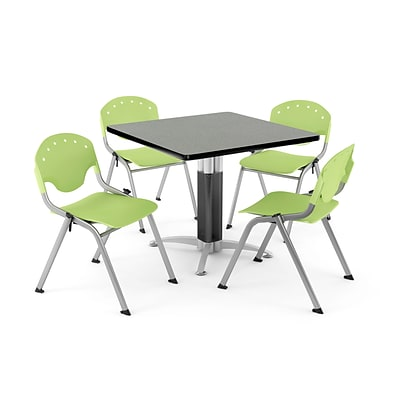 OFM PRKBRK-022-0012 36 Square Laminate Multipurpose Gray Nebula Table With 4 Lime Green Chairs