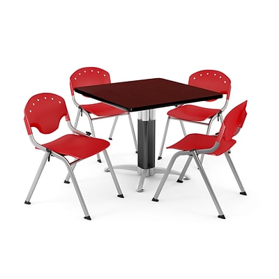 OFM PKG-BRK-024-0014 42 Square Laminate Multi-Purpose Table with 4 Chairs, Mahogany Table/Red Chair