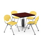 OFM PRKBRK-024-0016 42 Square Laminate Multipurpose Mahogany Table With 4 Lemon Yellow Chairs