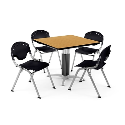 OFM PKG-BRK-024-0019 42 Square Laminate Multi-Purpose Table with 4 Chairs, Oak Table/Black Chair