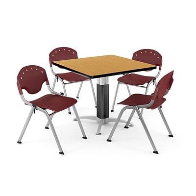 OFM PKG-BRK-024-0021 42 Square Laminate Multi-Purpose Table with 4 Chairs, Oak Table/Burgundy Chair