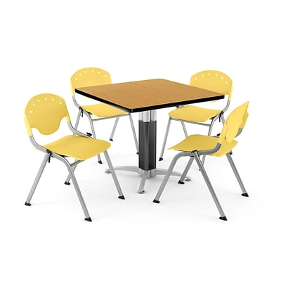 OFM PRKBRK-024-0022 42 Square Laminate Multipurpose Table w 4 Chairs, Oak Table/Lemon Yellow Chair
