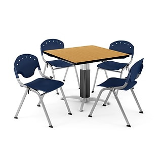 OFM PKG-BRK-024-0023 42 Square Laminate Multi-Purpose Table with 4 Chairs, Oak Table/Navy Chair