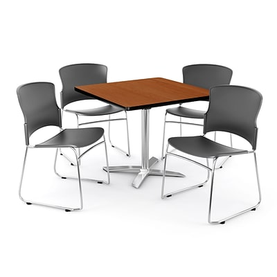 OFM PKG-BRK-026-0001 42 Square Laminate Multi-Purpose Table with 4 Chairs, Cherry Table/Gray Chair