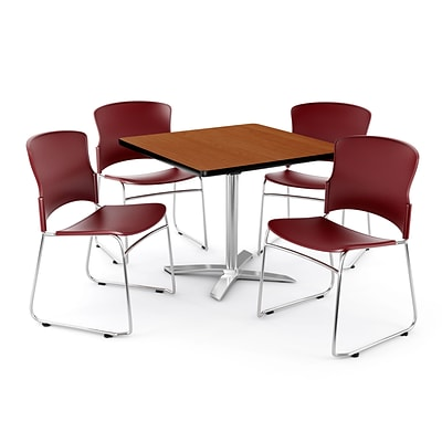 OFM PKG-BRK-026-0003 42 Square Laminate Multi-Purpose Table with 4 Chairs, Cherry Table/Wine Chair