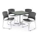 OFM PRKBRK-025-0005 36 Square Laminate Multipurpose Table w 4 Chairs, Gray Nebula Table/Gray Chair