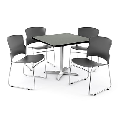 OFM PRKBRK-026-0005 42 Square Laminate Multipurpose Table w 4 Chairs, Gray Nebula Table/Gray Chair