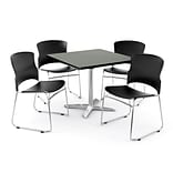 OFM PRKBRK-026-0006 42 Square Laminate Multipurpose Table w 4 Chairs, Gray Nebula Table/Black Chair