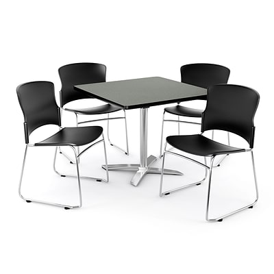 OFM PRKBRK-025-0006 36 Square Laminate Multipurpose Table w 4 Chairs, Gray Nebula Table/Black Chair