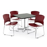 OFM PRKBRK-025-0007 36 Square Laminate Multipurpose Table w 4 Chairs, Gray Nebula Table/Wine Chair
