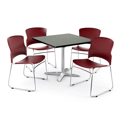 OFM PRKBRK-026-0007 42 Square Laminate Multipurpose Table w 4 Chairs, Gray Nebula Table/Wine Chair