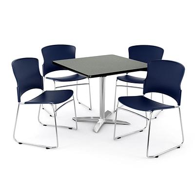 OFM PRKBRK-025-0008 36 Square Laminate Multipurpose Table w 4 Chairs, Gray Nebula Table/Navy Chair