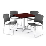 OFM PRKBRK-025-0009 36 Square Laminate Multipurpose Table w 4 Chairs, Mahogany Table/Gray Chair