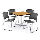 OFM PKG-BRK-026-0013 42 Square Laminate Multi-Purpose Table with 4 Chairs, Oak Table/Gray Chair