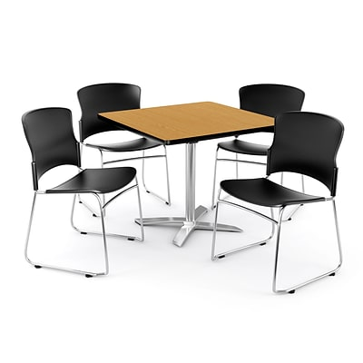 OFM PKG-BRK-025-0014 36 Square Laminate Multi-Purpose Table with 4 Chairs, Oak Table/Black Chairs