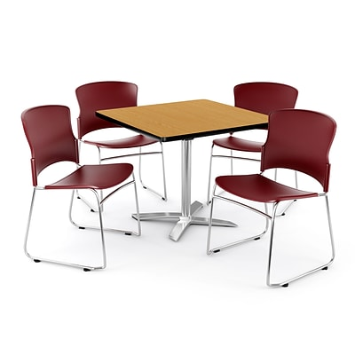 OFM PKG-BRK-026-0015 42 Square Laminate Multi-Purpose Table with 4 Chairs, Oak Table/Wine Chair