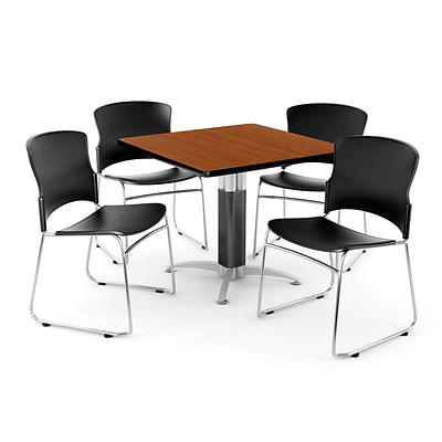 OFM PRKBRK-030-0002 42 Square Laminate Multipurpose Table w 4 Chairs, Cherry Table/Black Chairs