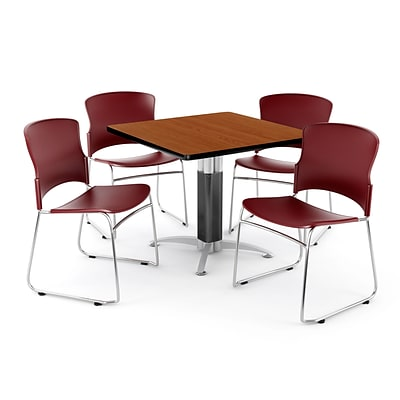 OFM PKG-BRK-030-0003 42 Square Laminate Multi-Purpose Table with 4 Chairs, Cherry Table/Wine Chairs