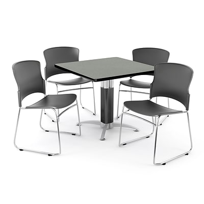 OFM PRKBRK-030-0005 42 Square Laminate Multipurpose Table w 4 Chairs, Gray Nebula Table/Gray Chairs