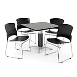 OFM PRKBRK-030-0006 42 Square Laminate Multipurpose Table w 4 Chairs, Gray Nebula Table/BLK Chairs