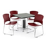OFM PRKBRK-030-0007 42 Square Laminate Multipurpose Table w 4 Chairs, Gray Nebula Table/Wine Chairs
