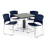 OFM PRKBRK-030-0008 42 Square Laminate Multipurpose Table w 4 Chairs, Gray Nebula Table/Navy Chair