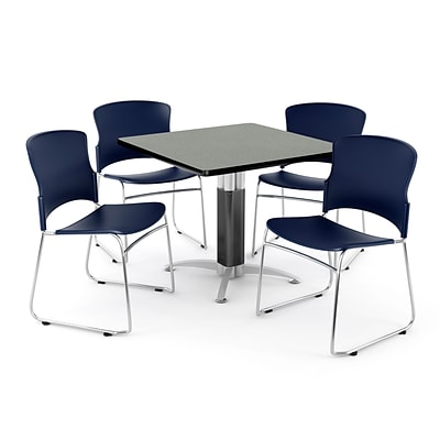 OFM PRKBRK-028-0008 36 Square Laminate Multipurpose Table w 4 Chairs, Gray Nebula Table/Navy Chair