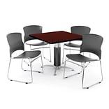 OFM PRKBRK-030-0009 42 Square Laminate Multipurpose Table w 4 Chairs, Mahogany Table/Gray Chairs