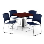 OFM PRKBRK-028-0012 36 Square Laminate Multipurpose Table w 4 Chairs, Mahogany Table/Navy Chair