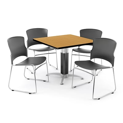 OFM PKG-BRK-030-0013 42 Square Laminate Multi-Purpose Table with 4 Chairs, Oak Table/Gray Chairs