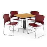OFM PKG-BRK-030-0015 42 Square Laminate Multi-Purpose Table with 4 Chairs, Oak Table/Wine Chairs