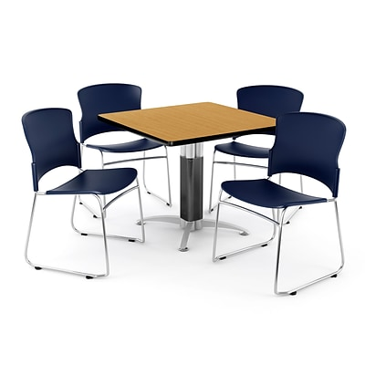 OFM PKG-BRK-028-0016 36 Square Laminate Multi-Purpose Table with 4 Chairs, Oak Table/Navy Chair