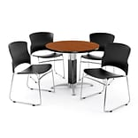 OFM PKG-BRK-029-0002 42 Round Laminate Multi-Purpose Table with 4 Chairs, Cherry Table/Black Chair