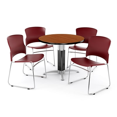 OFM PKG-BRK-029-0003 42 Round Laminate Multi-Purpose Table with 4 Chairs, Cherry Table/Wine Chair