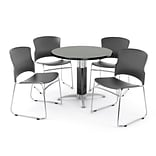 OFM PRKBRK-027-0005 36 Round Laminate Multipurpose Table w 4 Chairs, Gray Nebula Table/Gray Chair