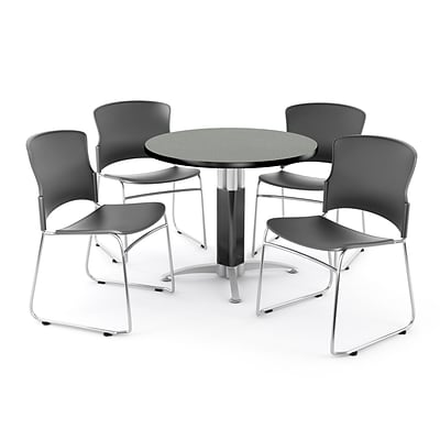OFM PRKBRK-029-0005 42 Round Laminate Multipurpose Table w 4 Chairs, Gray Nebula Table/Gray Chair