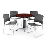 OFM PKG-BRK-029-0009 42 Round Laminate Multi-Purpose Table with 4 Chairs, Mahogany Table/Gray Chair