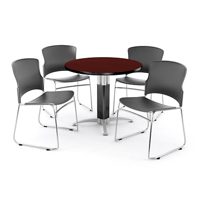 OFM PKG-BRK-027-0009 36 Round Laminate Multi-Purpose Table with 4 Chairs, Mahogany Table/Gray Chair