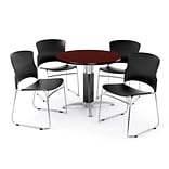 OFM PRKBRK-029-0010 42 Round Laminate Multipurpose Table w 4 Chairs, Mahogany Table/Black Chair