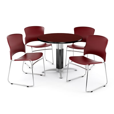 OFM PKG-BRK-029-0011 42 Round Laminate Multi-Purpose Table with 4 Chairs, Mahogany Table/Wine Chair
